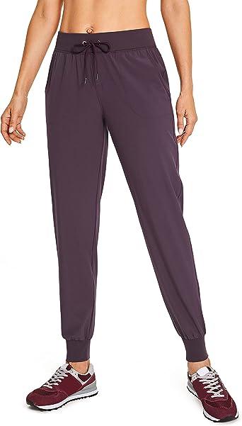 Amazon Com Crz Yoga Pantalones Deportivos Ligeros Tipo Jogger Para Mujer Pantalones Para Correr Con Bolsillos Y Cordon Y Cintura Elastica Clothing