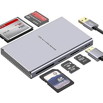 KAMETA Lector de Tarjetas USB Súper Veloz, Lector de Tarjetas de Aluminio 5 en 1 USB 3.0 con Adaptador USB de Lectura Paralela para SD, CF, Micro SD, ...