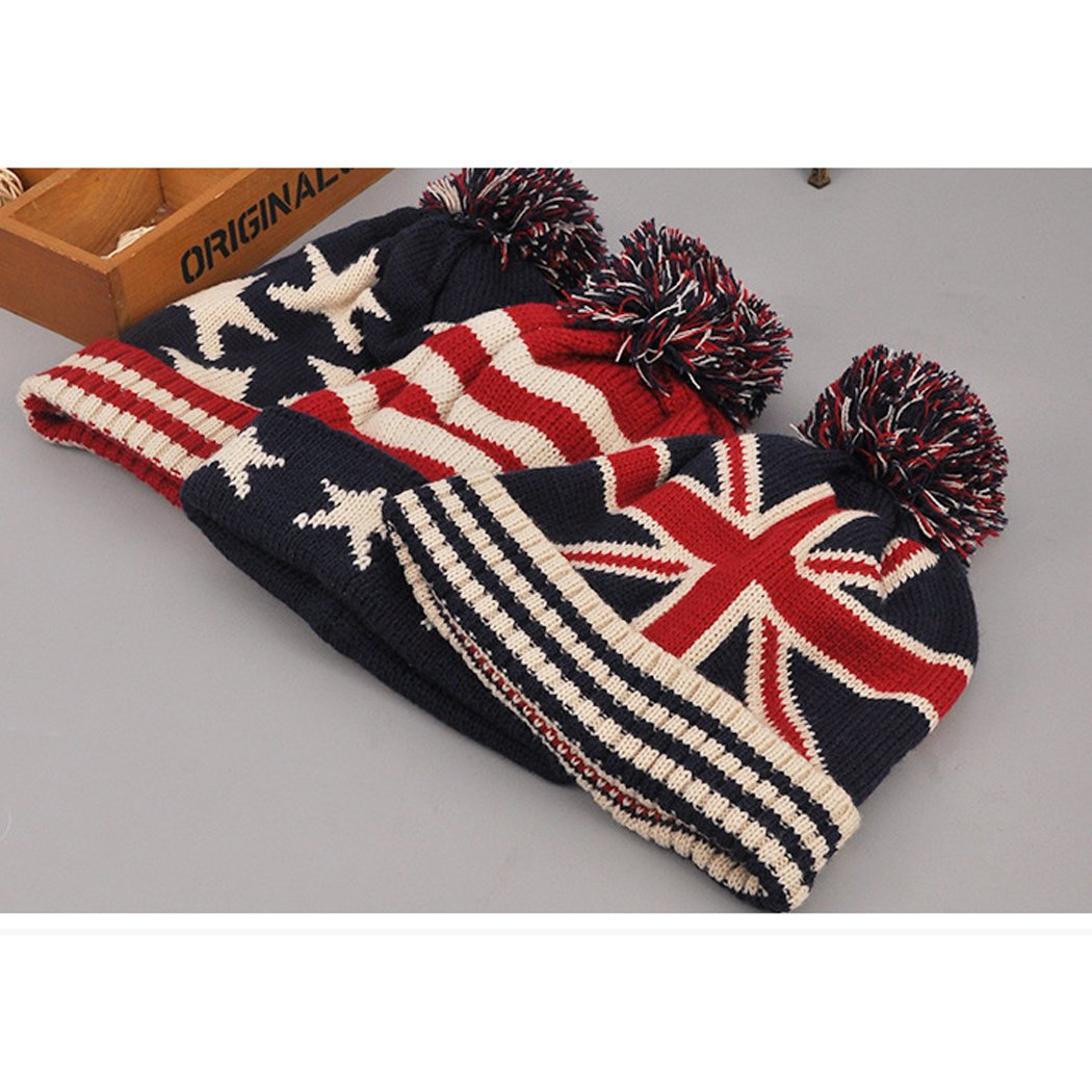 Raylans Women Men Crochet Knitted Ball Stripe Stars Winter Warm Beanie Hat Ski Cap,British Flag by Raylans (Image #8)
