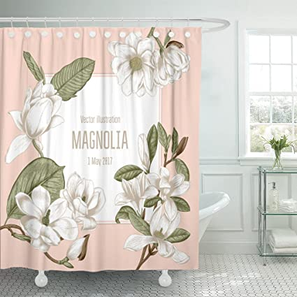 Amazoncom Tompop Shower Curtain Brown Magnolia Flowers In Vintage