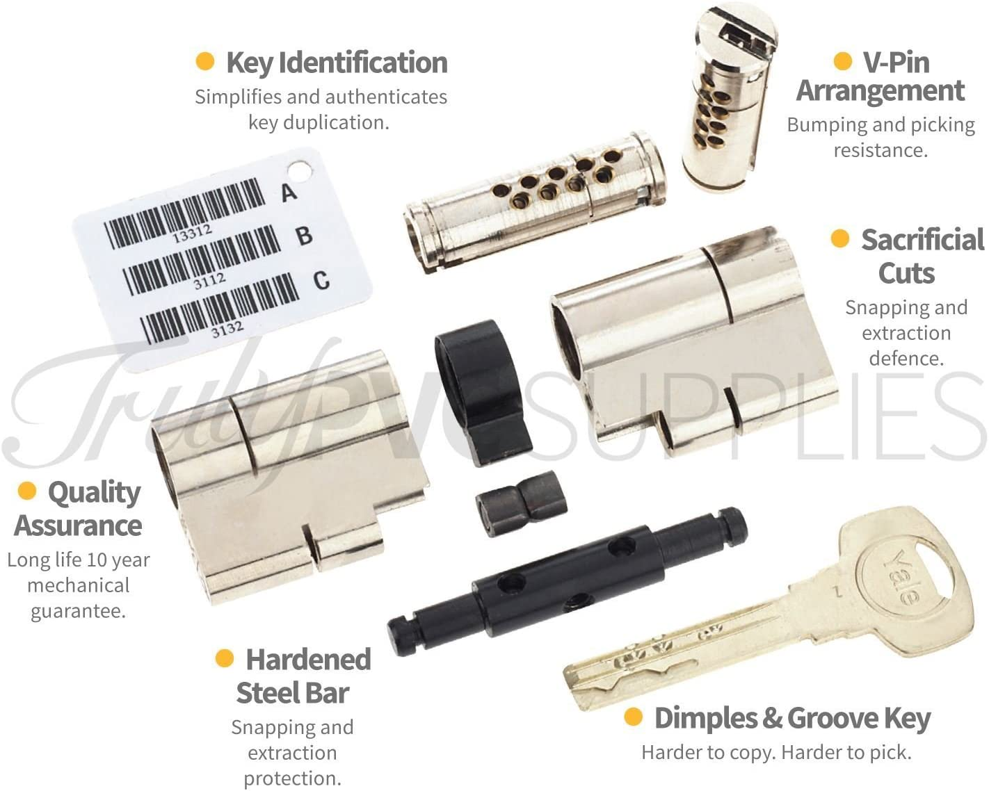 40//45 Brass YALE Superior Euro Cylinder with 3 Keys Anti Snap Pull High Security uPVC Composite Door Barrel Profile Lock Drill Bump Pick