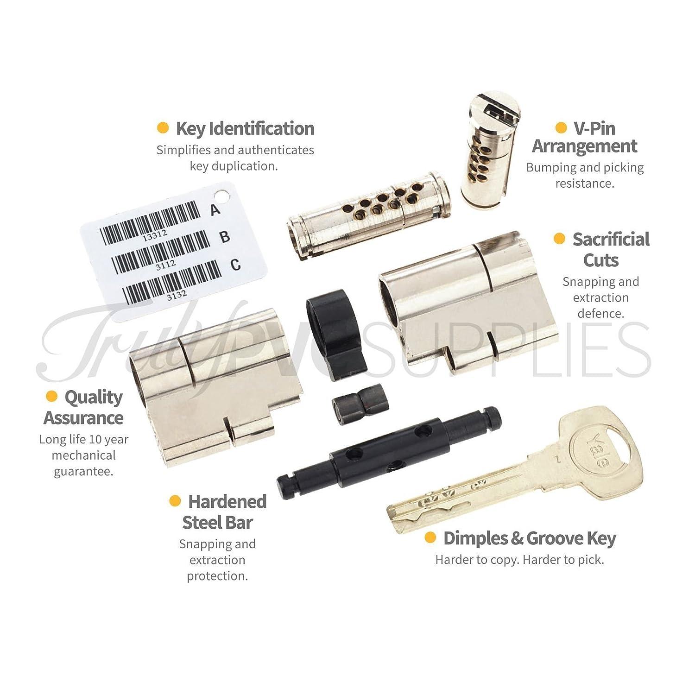 45//35T Nickel Yale sup/érieure Euro Cylindre /à bouton avec 3/cl/és//Anti Snap//Bump//main//perceuse//Pull haute s/écurit/é UPVC Composite Porte Corps Profil Twist pouce Turn Lock