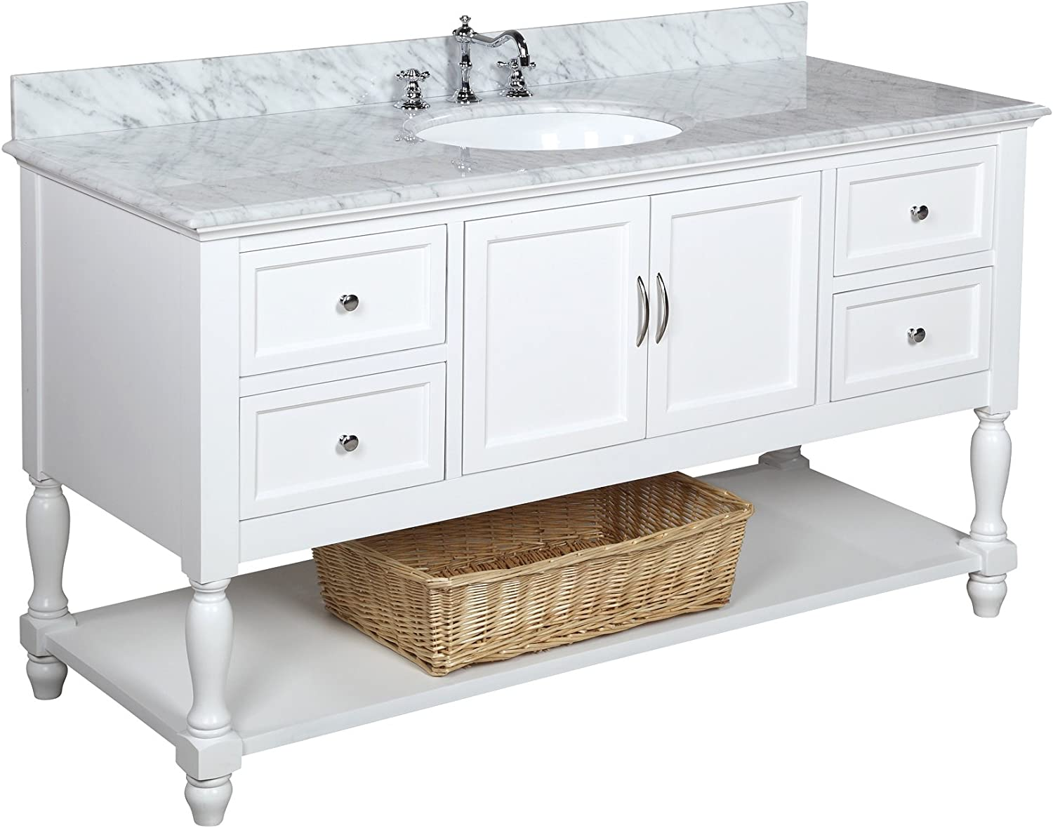 Beverly 60-inch Single Sink Bathroom Vanity Carrara White Includes a White Cabinet with Soft Close Drawers, Authentic Italian Carrara Marble Countertop, and White Ceramic Sink