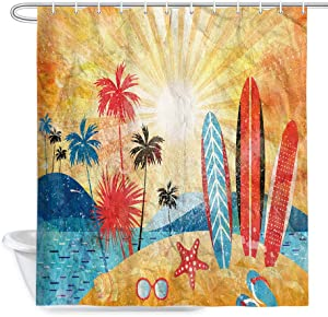 JAWO Beach Theme Shower Curtain, Tropical Ocean Wave Sea Water Starfish Pattern Shower Curtains, Vintage Surfboard Palm Tree Decor Rustic Fabric Bath Curtains, 69x70 Inches (Yellow/Blue)