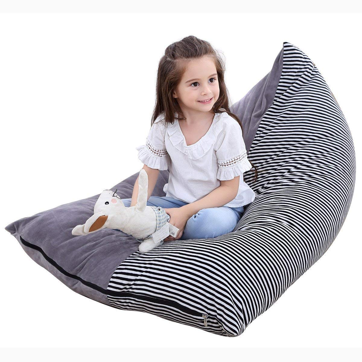 Stuffed Animal Bean Bag Chair Kids Toy Storage Organizer Stuffie Seat,Extra Large Super Soft Velvet Floor Chair Sofa Toy Storage Bean Bag Chair Seat for Kids, Teens and Adults Winmany