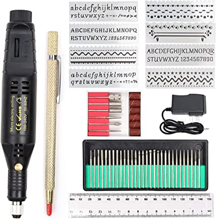 Electric Micro Engraver Pen Mini DIY Vibro Engraving Tool Kit for Metal Glass Ceramic Plastic Wood Jewelry with Scriber Etcher 30 Bits,6 Polishing Head and 16 Stencils and 1 Scriber Pen