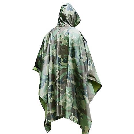 Poncho Lluvia Impermeable by DigHealth, Militar Camuflaje de Color, Capa Chubasquero 100% Chubasquero PVC,Ropa con Capucha, Secado Rápido,Equipo ...