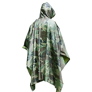 Poncho Lluvia Impermeable by DigHealth, Militar Camuflaje de Color, Capa Chubasquero 100% Chubasquero