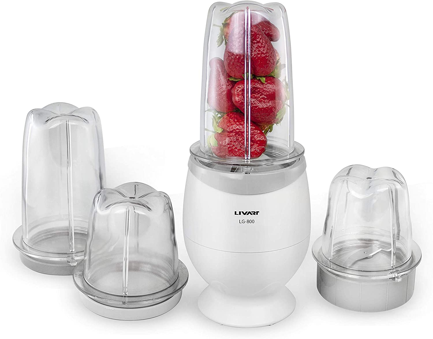 Livart Mini Mixer High-Speed Blender with Two 400ml and two 300ml mixing containers/Shake Maker Mixer System, White Color, Made in Korea