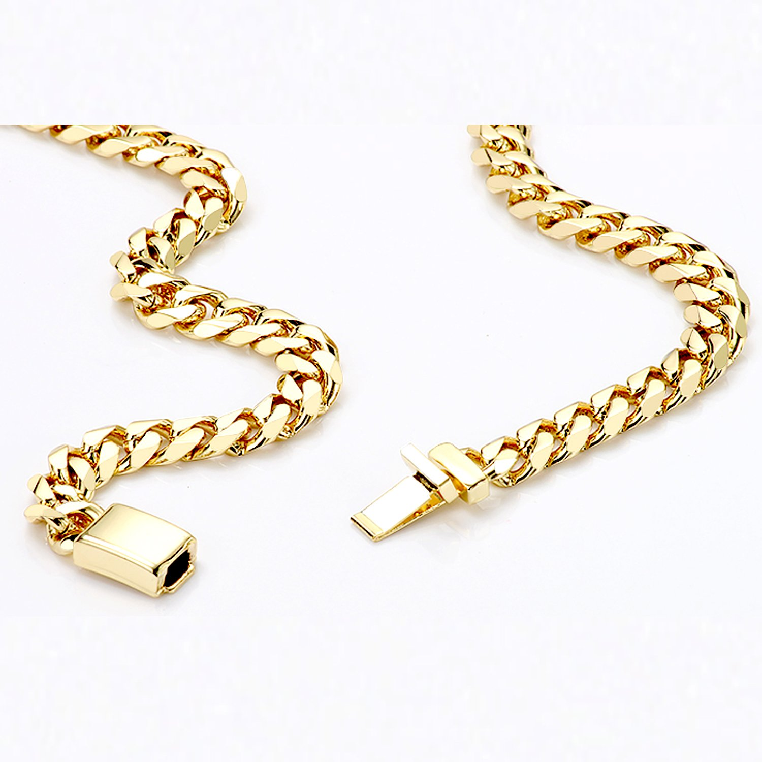 Gold Cuban Link Chain Necklace for Men Real 11MM 24K Karat Diamond Cut Heavy w Solid Thick Clasp US Made