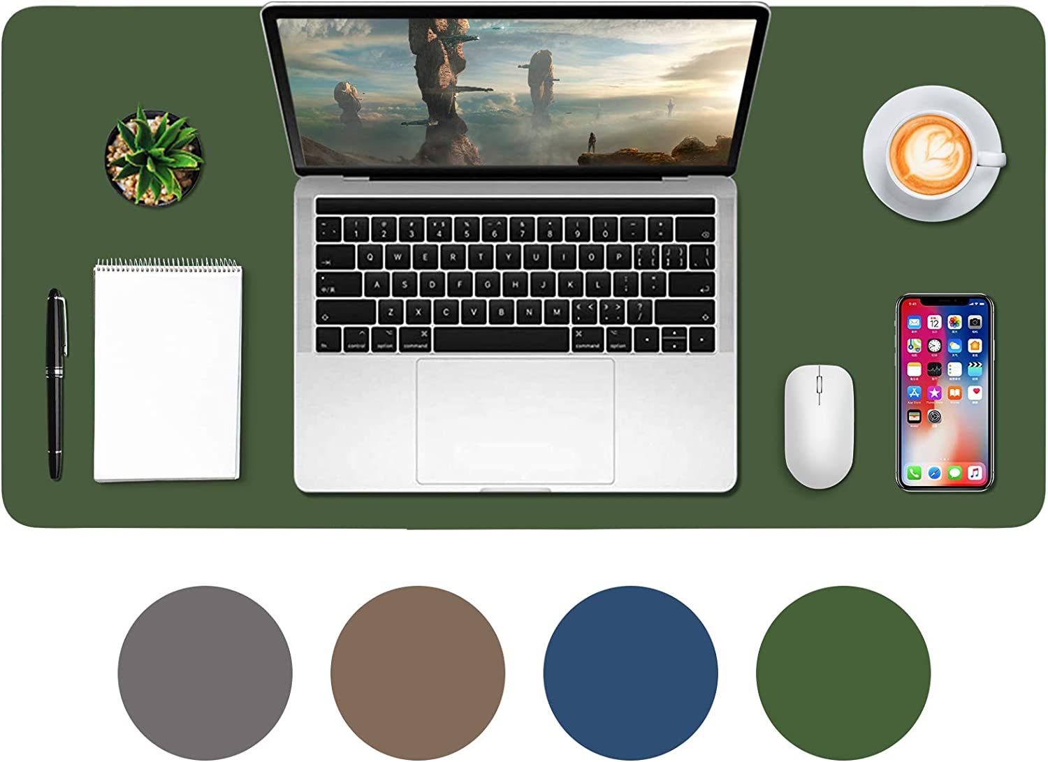 "Desk mat for Kids,31.5"" x 15.7"" Leather Desk blotter,Desk Pad Protector,Mouse Pad,Office Desk Mat,Waterproof Desk Writing Pad for Office and Home-Army Green"