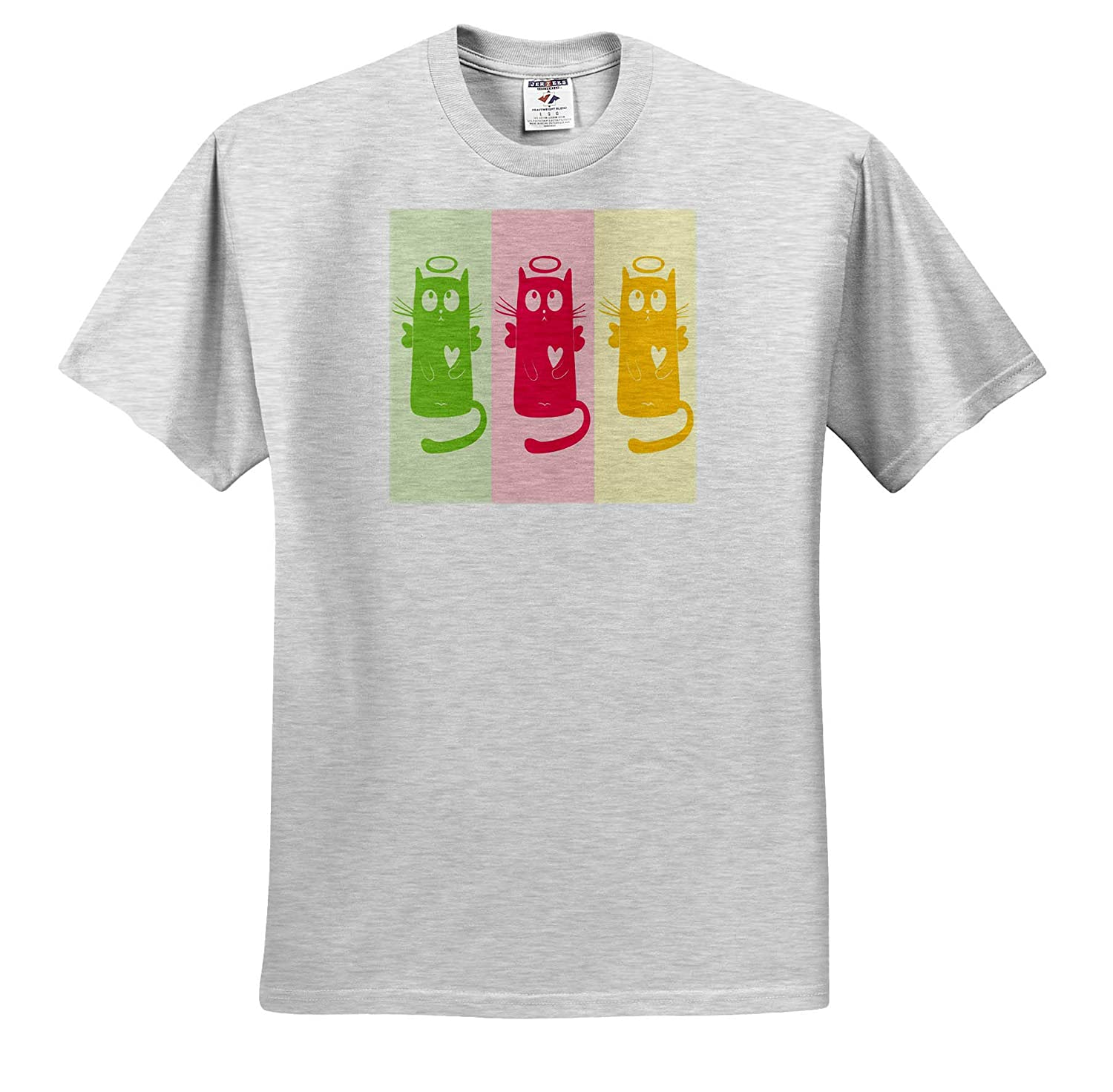 Childrens Art V 3dRose Lens Art by Florene Image of Cartoon with Three Cats in Green Pink and Yellow T-Shirts