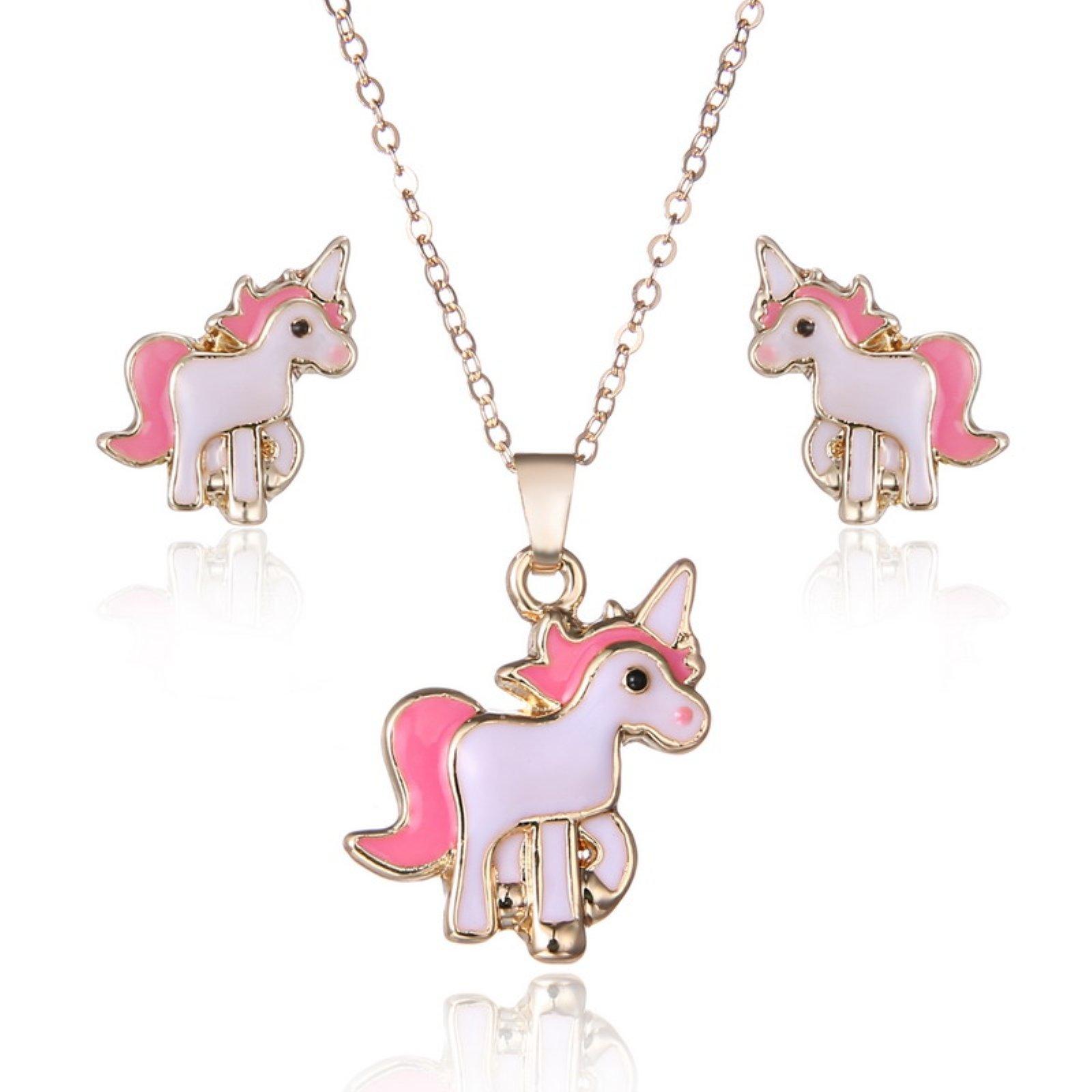 ptk12 Hot Sale Alloy Animal Jewelry Set Chain Kids Jewelry Cartoon Horse Necklace Earring Set