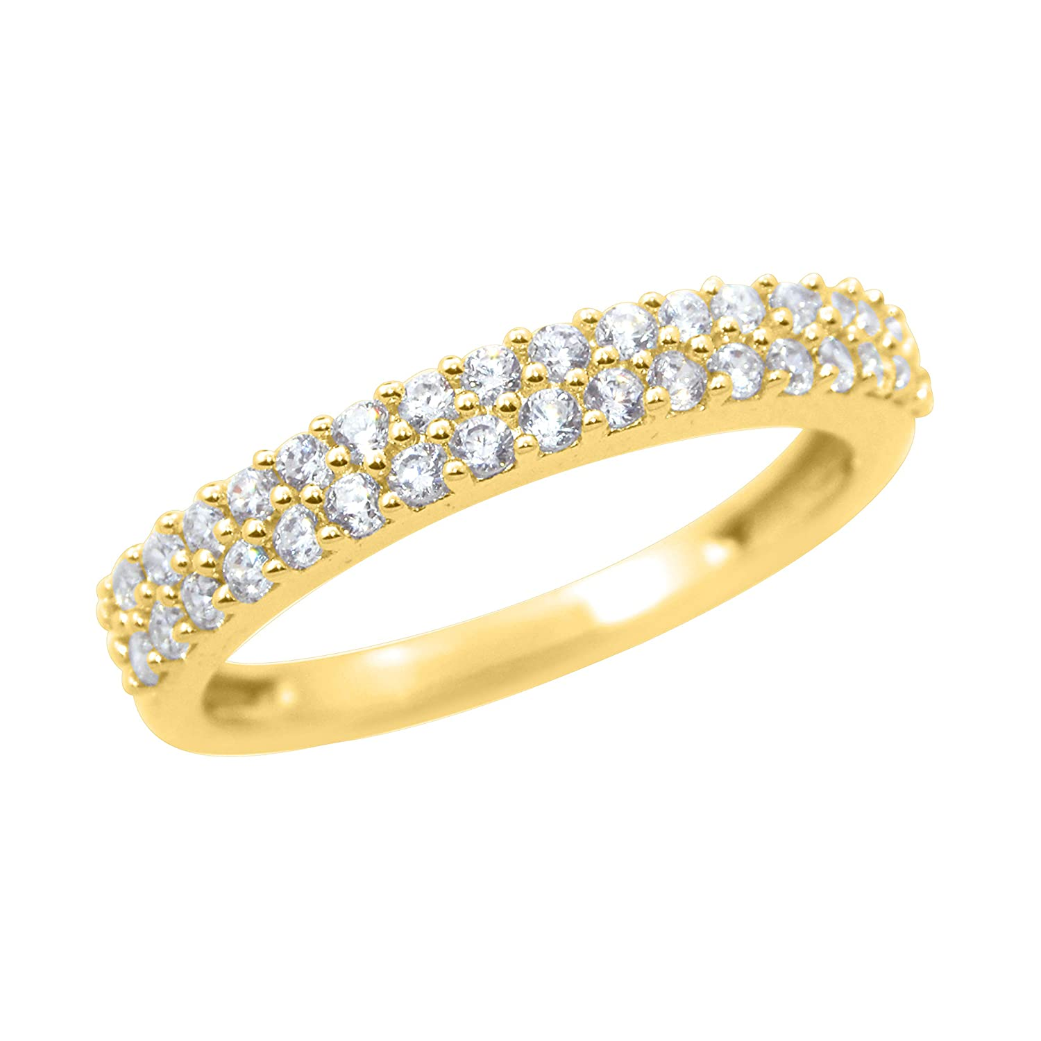 Diamond Scotch Cubic Zirconia Anniversary Wedding 2-Row Eternity Stackable Band Ring for Women 14K Gold Over