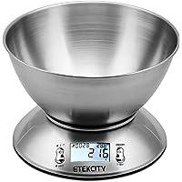 Etekcity Bilancia da Cucina Elettronica in Acciaio Inossidabile 5kg/ 11lb,Ciotola Mescolata,Timer Allarme,Indicatore Temperatura,Display Retroilluminato,D'argento