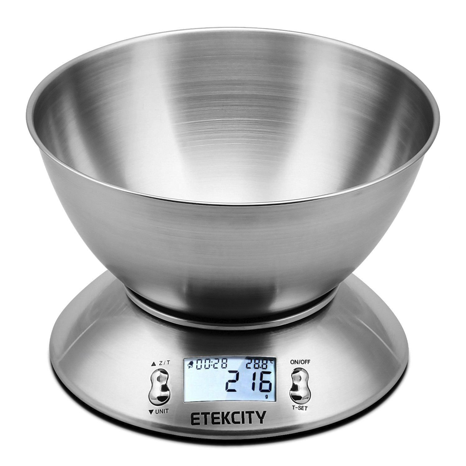 Etekcity 11lb/5kg Kitchen Scales, Stainless Steel Digital Cooking Food Scales with Detachable Mixing Bowl, Ambient Temperature Sensor and Kitchen Timer Alarm, Backlight LCD Display, Silver Les balances électroniques