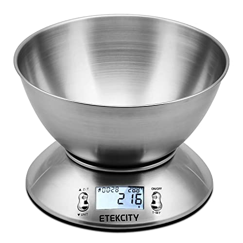 Etekcity 11lb/5kg Kitchen Scales, Stainless Steel Digital Cooking Food Scales with Detachable Mixing Bowl, Ambient Temperature Sensor and Kitchen Timer Alarm, Backlight LCD Display, Silver