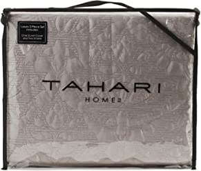Tahari King Duvet Cover Set Soft Luxurious Velvet Bedding 3 Piece, Solid with Textured Floral