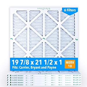 Glasfloss 19-7/8 x 21-1/2 x 1 MERV 10 Air Filters, Pleated, Made in USA (Case of 6) Fits Listed Models of Carrier, Bryant & Payne, Removes Dust, Pollen & Many Other Allergens.