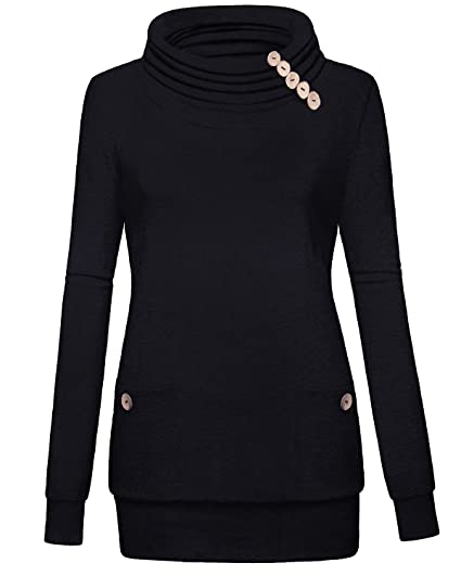 e2f5deab20f YaYa Bay Rouched Tunic Womens Shirts Long Sleeve Button Pocket Casual Slim Tunic  Tops Large Black at Amazon Women s Clothing store