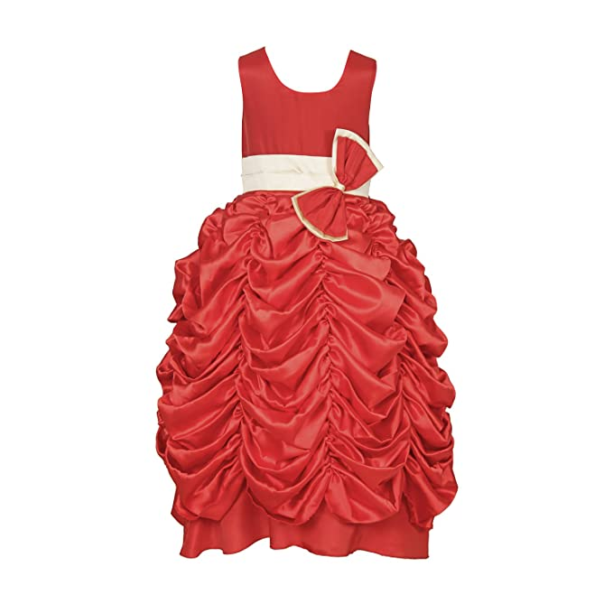 3f216ff9a63f Samsara Couture Baby Girls Red Satin Girls Christmas Party Wear Gather Gown  Dress: Amazon.in: Clothing & Accessories