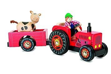 Holztraktor Traktor Holz mit Hänger schon älter Spielzeug farbig