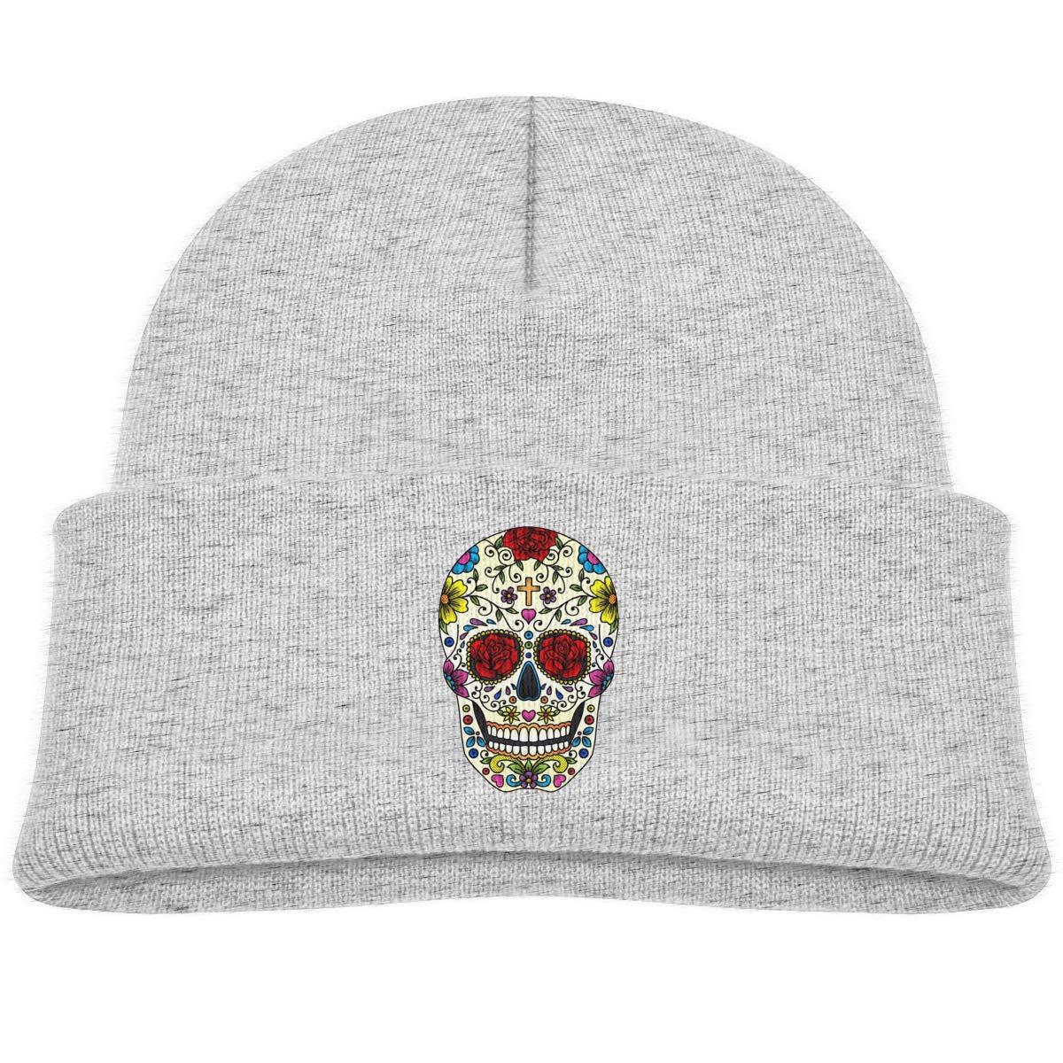 Kids Knitted Beanies Hat Sugar Skull Art Winter Hat Knitted Skull Cap for Boys Girls Pink