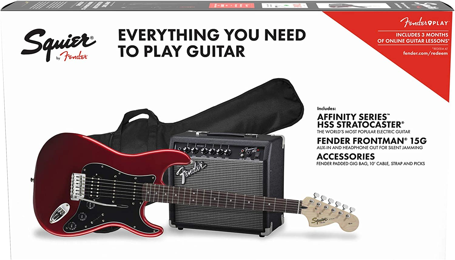 Fender Squier Affinity Stratocaster LRL HSS Candy Apple Red + Frontman 15G + Funda Guitarra Eléctrica