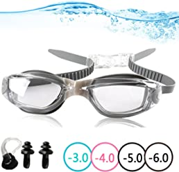 af331bdf0c YINGNEW No Leaking Prescription Swimming Goggles - Unisex Triathlon Swim  Glasses with Free Nose Clip