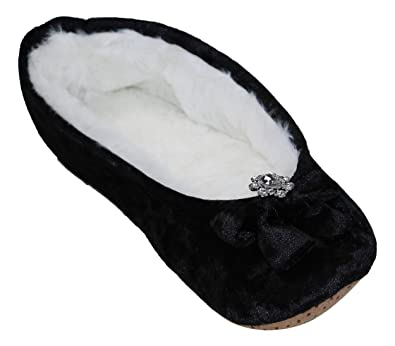 Inc International Concepts Black Furry Slippers Size XL