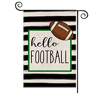 AVOIN Watercolor Stripes Hello Football Garden Flag Vertical Double Sized, Holiday Party Sports Yard Outdoor Decoration 12.5 x 18 Inch
