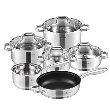 Velaze Batería de Cocina 10 Piezas, serie Eloria, Juego de Utensilios de Cocina de