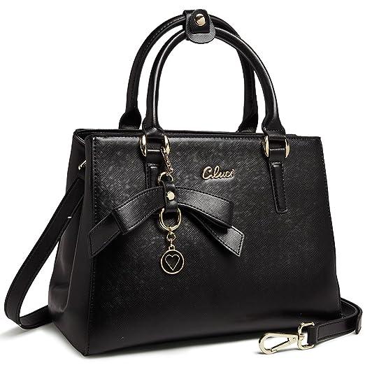 bb7d45a8104ba Image Unavailable. Image not available for. Color  Cluci Leather Designer  Handbags Tote Satchel Shoulder Bag Purse for Women Black