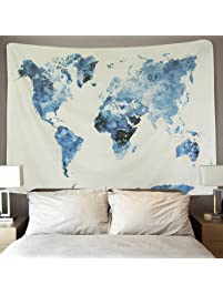 BLEUM CADE Blue Watercolor World Map Tapestry Abstract Splatter Painting  Tapestry Wall Hanging Art For Living
