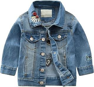 LJYH Unisex Girls Demin Jacket with Flower Embroidery Kids Demin Coat for Little Boys