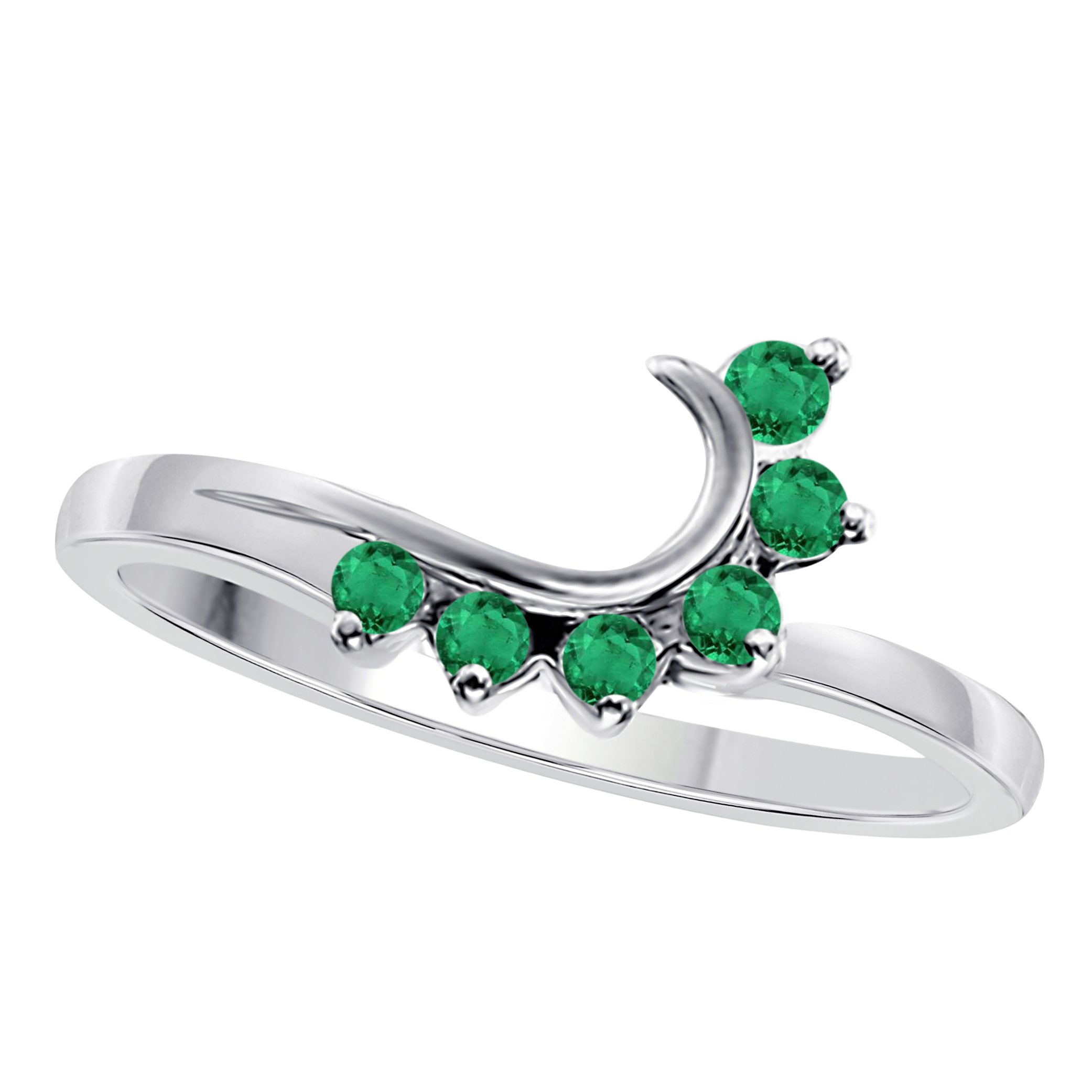 Star Retail 14K White Gold Plated Alloy Round CZ Green Emerald Wedding Band Enhancer Guard Double Ring