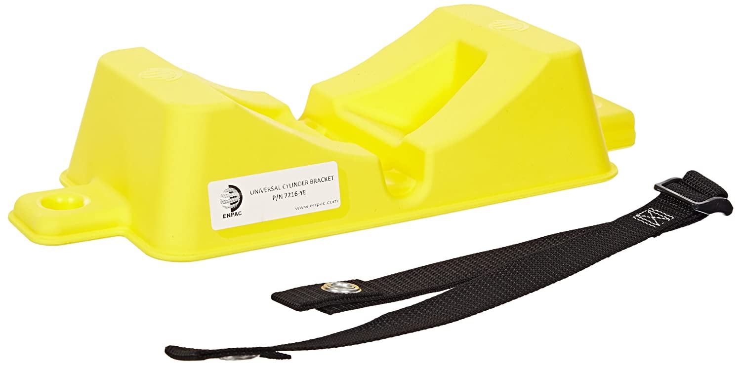 """Enpac 7216-YE Universal Cylinder Bracket with Straps, 15-19/64"""" Length x 6-19/64"""" Width x 3-19/64"""" Height, Yellow"""