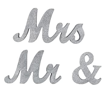 Amazon.com: Mr and Mrs Sign - Decoración para mesa de boda ...