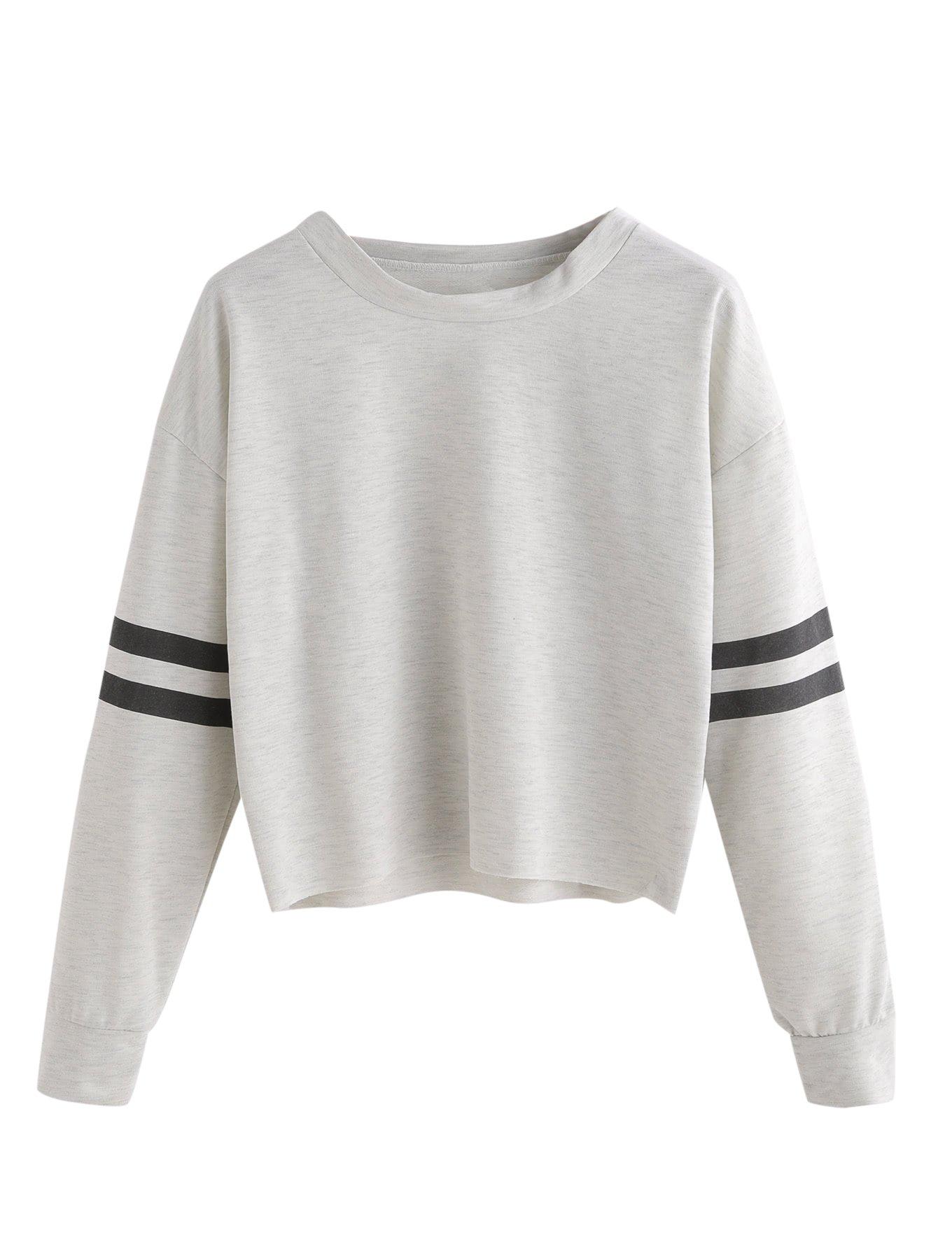 SweatyRocks Women's Striped Long Sleeve Crewneck Crop Top Sweatshirt Grey M