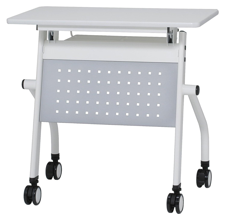 会議テーブル 跳ね上げ式 W750×D450×H720 幕板付き スタックテーブル GD-634M (天板ホワイト×幕板シルバー) B01BXON3BE 天板ホワイト×幕板シルバー 天板ホワイト×幕板シルバー