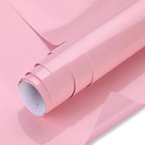 """Pink Cabinets Paper, Johgee 15.8"""" x 118"""" Adhesive Paper PVC Kitchen Wall Adhesive Film, Glitter on Surface, Paper Waterproof, Decals Furniture Decoration for Bedroom Living Room"""