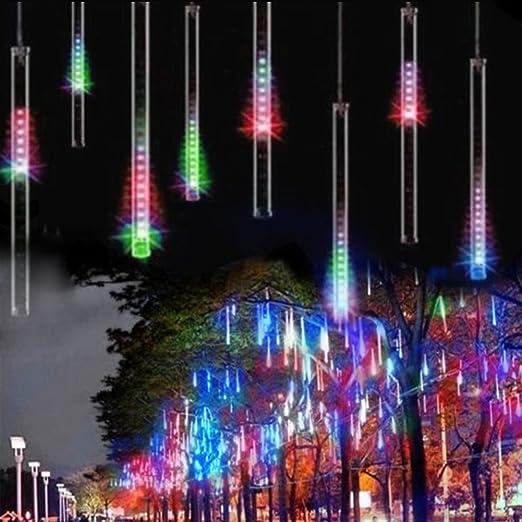 Luci di Pioggia EONANT 30cm 10 Tubes 360LEDs Luci di Caduta Solare Luci da Doccia di Meteore Luci di Caduta di Pioggia per Alberi Feste Decorazione di Casa di Nozze Multicolor