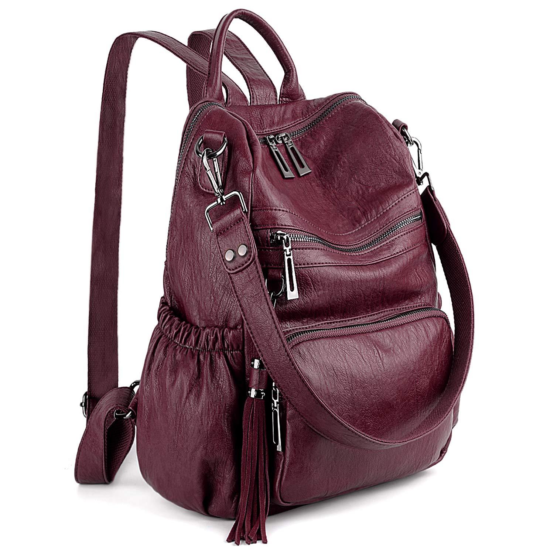 UTO Women Backpack Purse PU Washed Leather Convertible Ladies Rucksack Tassel Zipper Pocket Shoulder Bag Pure Red