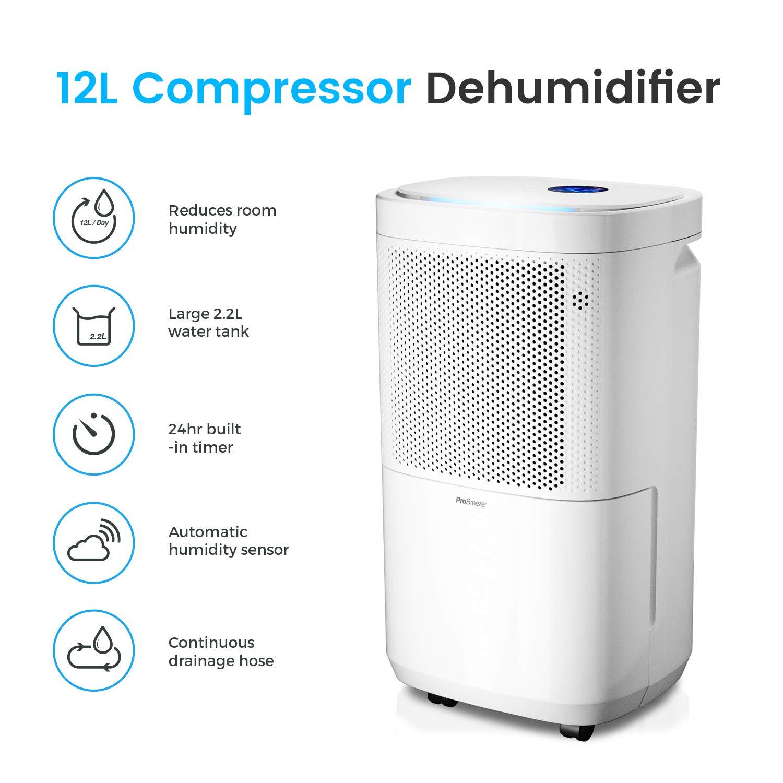 Pro Breeze Deshumidificador 12L, Pantalla Digital, Drenaje Continuo, Portátil con 4 Modos de Uso, Temporizador y Secadora de Ropa: Amazon.es: Hogar