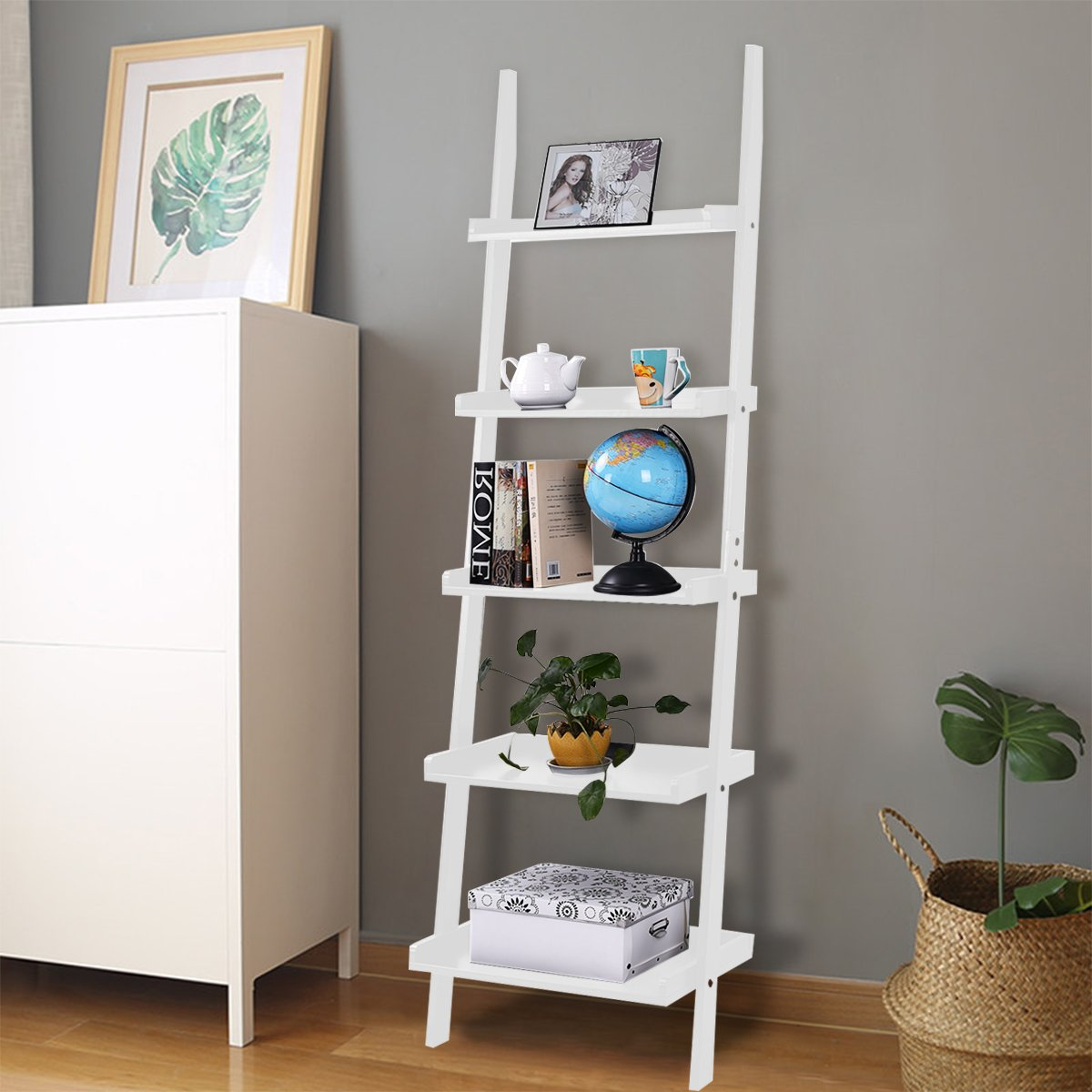 Costwaty 5 Tier Wooden Wall Rack Leaning Ladder Shelf Unit Bookcase Display Stock Black/White (5 Tiers, White) Costway
