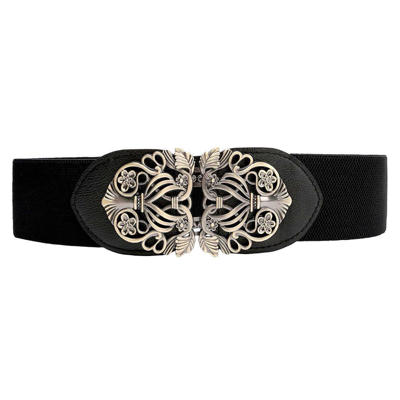 CHIC DIARY Women's Vintage Engraving Elastic Stretch Cinch Wide Waist Belt QQUK00347
