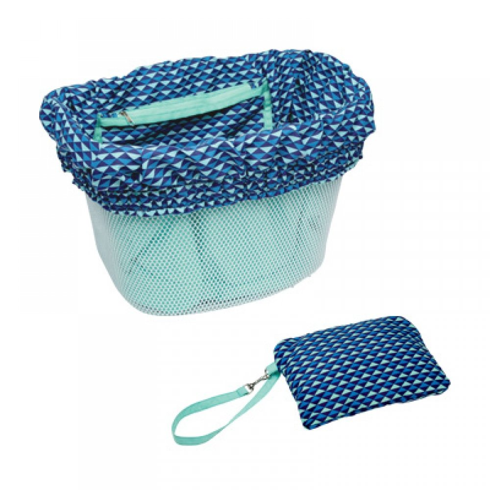Electra basket liner blue with multi triangles