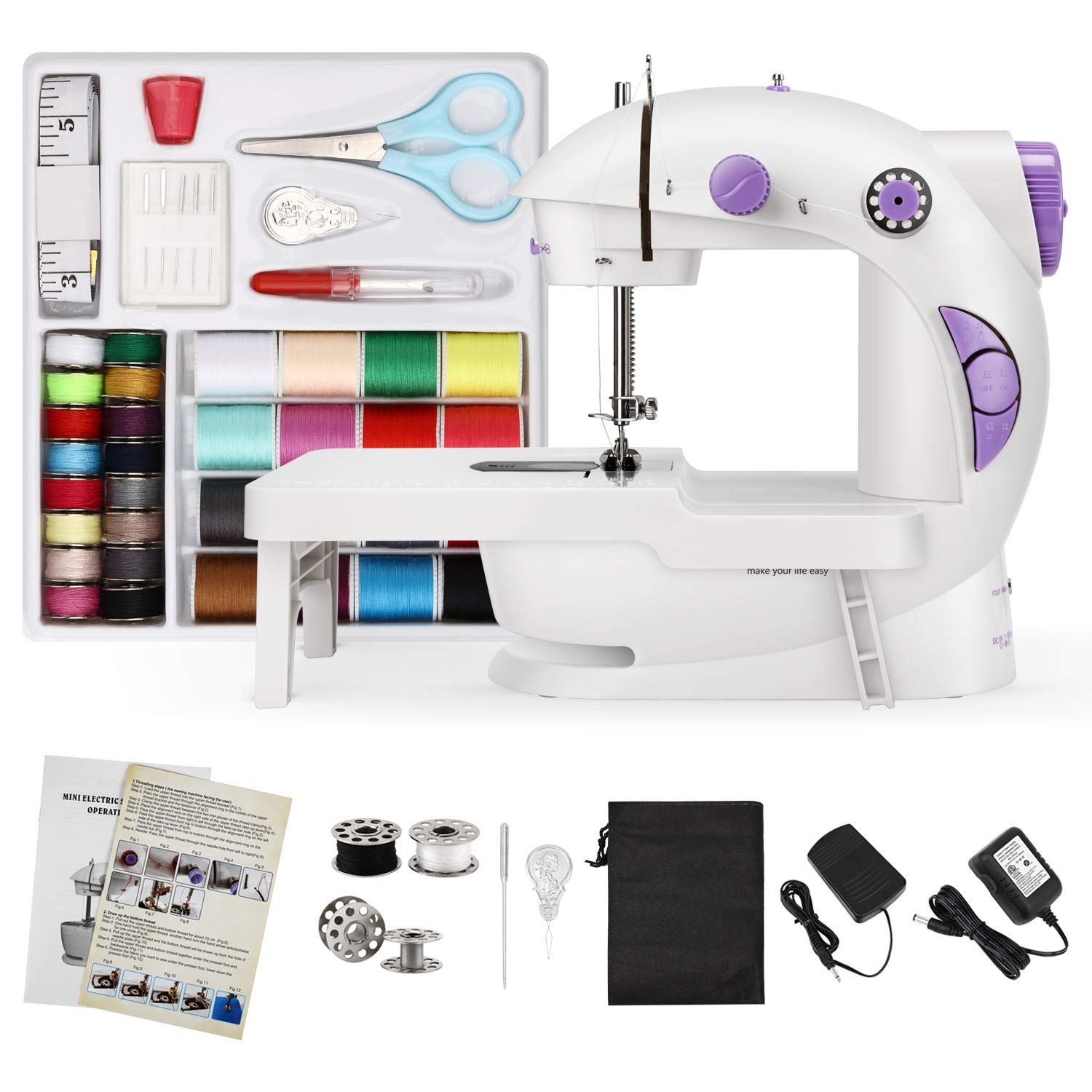 Magicfly Mini Sewing Machine for Beginner, Dual Speed Portable Sewing Machine Machine with Extension Table, Light, Sewing Kit for Household, Travel by Magicfly