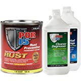 POR-15 45404 Rust Protection Paint SemiGloss Black Kit Metal Prep Degreaser Kit
