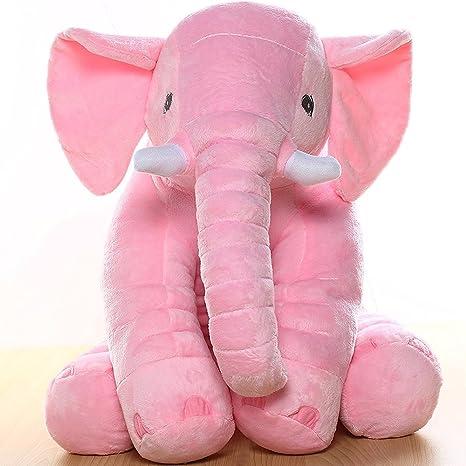 amazon com morismos stuffed elephant plush toy pink 24 inch 60cm